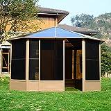 Outsunny® Alu Gartenhaus Haus Gartenpavillon Pavillon Partyzelt Zelt Garten 4x4m Dach