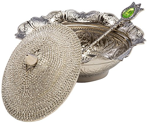 Swarovski Crystal Coated Handmade Brass Sugar Chocolate Candy Bowl Serving Dish (Silver) by CopperBull Crystal Sugar Bowl
