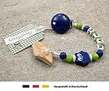 Veilchenwurzel an Schnullerkette mit Namen | natürliche Zahnungshilfe Beißring für Babys | Schnullerhalter mit Wunschnamen - Jungen Motiv Eule in dunkelblau