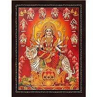 Avercart Goddess Amba / Ambaji / Ambika / Sheravali / Maa Ambe with 9 forms of Durga (Nav Durga) Poster 30x40 cm with frame (12x16 inch framed)