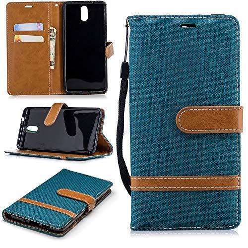 König Design Handy-Hülle Kompatibel mit Nokia 3.1 / Nokia 3 2018 Handy-Hülle Schutz-Tasche Case Cover Kartenfach Etuis Grün