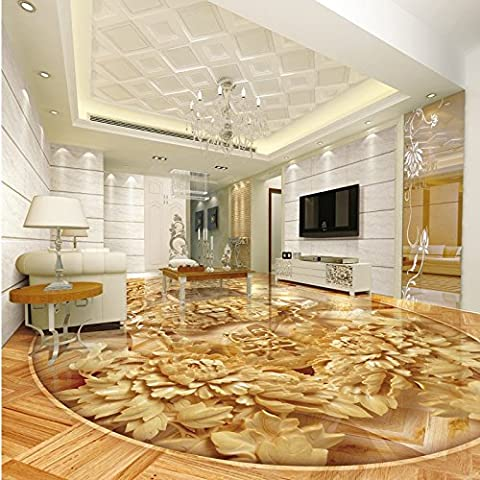 Chinese wood carving peony wood 3D floor painting wallpaper office studio kitchen flooring mural