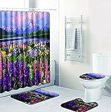 SLGJYY 3D Farbdruck Landschaft Duschvorhang Bodenmatte Kombination Vierteilige Anzug Bad WC Teppich Dusche Matte Matte Matte