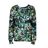 Vêtements LILICAT Mode à manches longues pour femmes New Round Pull Sweatshirt arbre de noël impression cloche T-shirt Tops S-XL (Green, XL)
