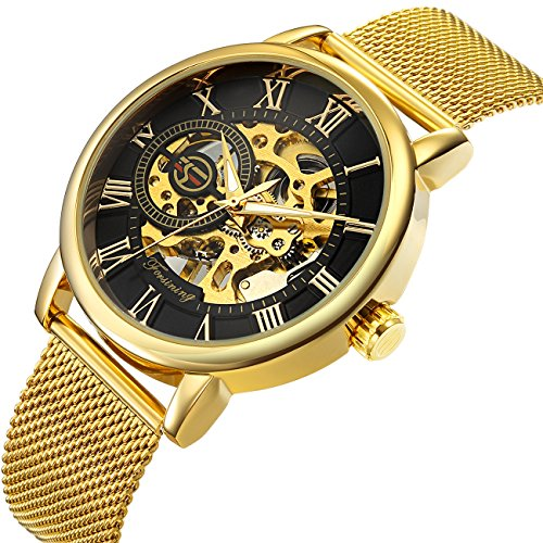 affute Mechanische Uhren CLASSIC Herren Skelett vergoldet Mesh Edelstahl Gurt Automatische Armbanduhr aufziehbar