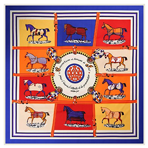 Seidenschal schal_10 Pferde twill Seide Schals Seide Schal, blau, 10 Pferde 100 cm