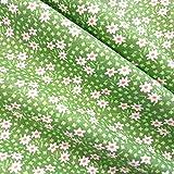 Stoff Meterware Baumwolle grün Streublümchen