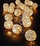 FRE 3M Sturm cremewei? 20 Rattan-Ball Lichterkette String Lights - Ideal für Hochzeit, Weihnachten, Party, Heim-Dekoration