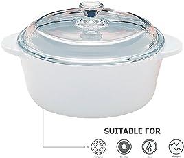 Tivoli Runde Kasserolle - aus Porzellan mit Deckel - Hitzebeständiges Ofengeschirr