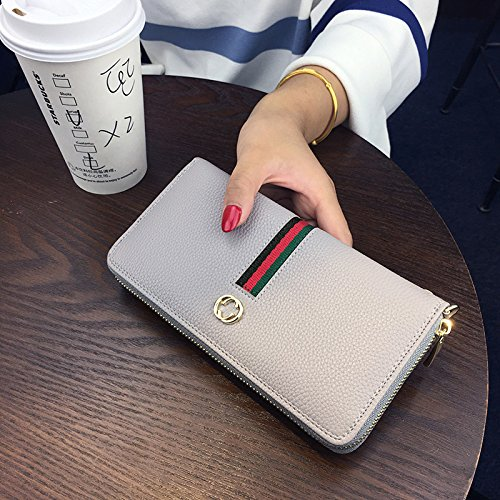LLZZPQB Brieftasche/Damen Geldbörse Lange Zip Kupplung Große Kapazität Multi-Card Handtasche Clutch Bag/Geburtstag/Geschenk/Valentine/Paar, Grau