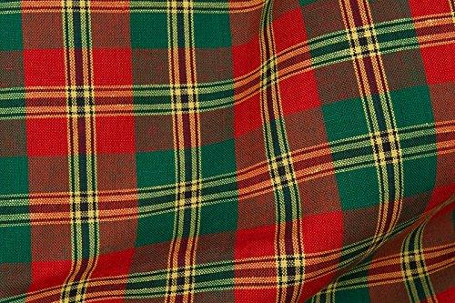 Rot/Grün Leinen & Baumwolle-Mischgewebe Stoff Meterware–160gsm Textil–Plaid–Tartan–gewebt in Nordeuropa (Plaid Kleid Leinen)