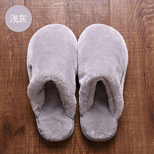 DogHaccd pantofole,Paio di pantofole di cotone spessa femmina caldo inverno plus velvet home interno anti-slittamento peluche di casa e il pavimento in legno Pura di colore grigio chiaro1