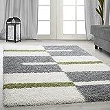 Carpetsale24 Hochflor Shaggy Teppich für Wohnzimmer Langflor Pflegeleicht Schadsstof geprüft Teppiche Streifen Oeko Tex Standarts, Farbe:Grün, Maße:120x170 cm