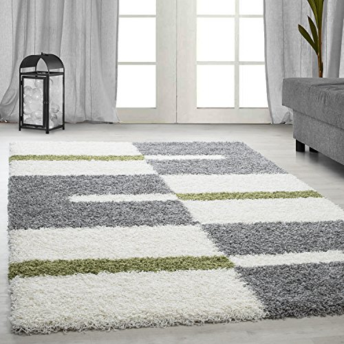 Hochflor Shaggy Teppich Langflor Pflegeleicht Schadsstof geprüft Streifen, Farbe:Grün, Maße:120 cm x 170 cm