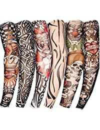 Autek Style de Lot 6 Pcs temporaire Faux Glissement tatouage manches bras Kit Collection (Tattoo-6pc)
