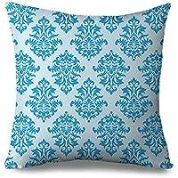 Blu damasco copertura del cuscino decorativo Cuscino