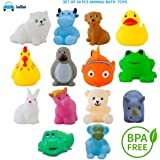 FunBlast Bath Toys for Baby – Pack of 14 Pieces - Colorful Animal Bath Toys | Toddler Baby Bathtub Bathing Squeeze Bath…