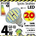 20-er Pack ALMIPEX GU10 LED Lampe 4W (320lm - 4500 K - Weiß - 24 x 5050 SMD LED - 120º Abstrahlwinkel - GU10 Sockel - 230V AC - 4 Watt - Ø 50×54 mm) von Almipex Swiss GmbH bei Lampenhans.de