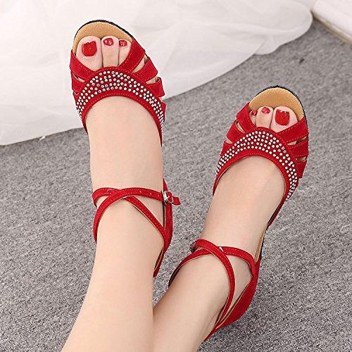 DGSA Square Dance Shoe_Latin Dance Schuhputzmaschine/-Bohrer weibliche Erwachsene mit weichen Böden der Cursor gerade Square Dance Shoe Gummi schwarz Outdoor