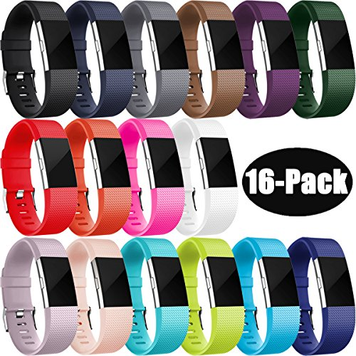 Fitbit Charge 2 Armband, HUMENN Charge 2 Armband Weiches Silikon Sports Ersetzerband Fitness Verstellbares Uhrenarmband für Fitbit Charge2 Small 16 Pack