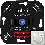 iolloi LED-Dimmer, Fase Afsnijding, Inbouw Draaidimmer voor Dimbaar LED's 3-150 W en Halogeen 3-300 W, Wit, 3 Jaar Garantie