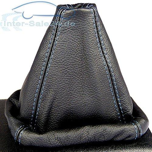 L&P A0027 Soufflet Sac Manchette manchon de commutation 100% cuir véritable veritable noir noire couture fil bleu bleue transmission manuelle boîte boite vitesse vitesses changement vitesse