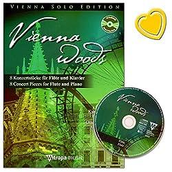 Vienna Woods - 8 Konzertstücke für Flöte und Klavier - Kurt Brunthaler, Thomass Doss, Manfred Spies - Notenheft mit CD und bunter herzförmiger Notenklammer