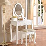 UEnjoy White Dressing Table Makeup Desk FREE Stool and Mirror Set 3 Drawers Bedroom Furniture