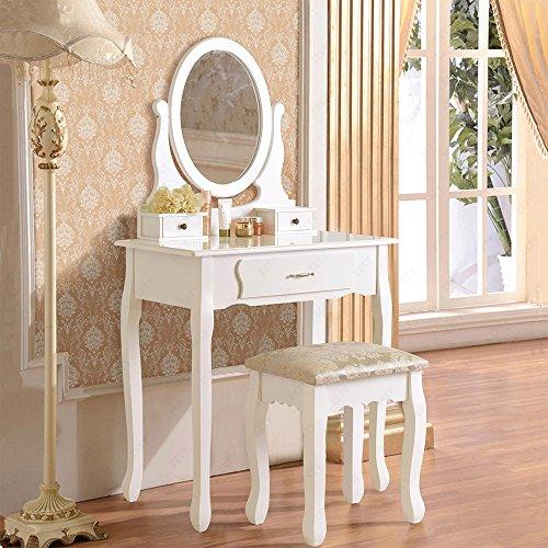 uenjoy schminktisch wei kosmetiktisch mit hocker spiegel 1 schublade. Black Bedroom Furniture Sets. Home Design Ideas
