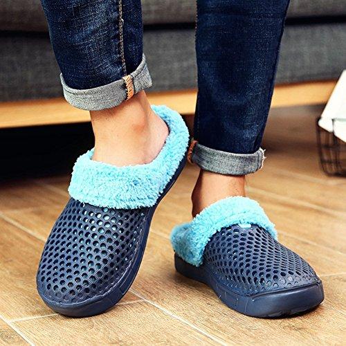 Juleya Unisex Pantofole Inverno caldo foderato Zoccoli Slipper Scarpe da giardino con suola in gomma antiscivolo Blu