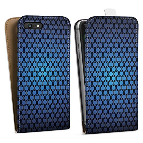 Apple iPhone X Silikon Hülle Case Schutzhülle Muster Punkte Blue Hexagon Pattern Downflip Tasche weiß