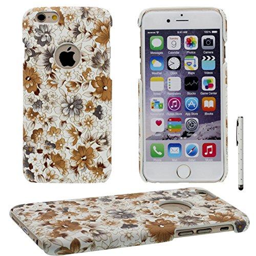 iPhone 6 Plus Coque, Élégant Fleur Motif Serie Mince Poids léger ( Ajustement parfait ) Dur Plastique Housse de Protection Case pour Apple iPhone 6 Plus / 6S Plus 5.5 inch avec 1 stylet jaune