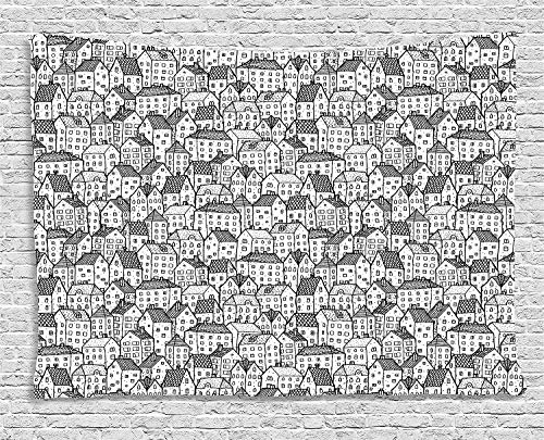 TRUIOKO City Tapiz, Sketch Style Doodle Drawing Urban Area Hand Drawn Abstract Town Pattern Ornntal, Wall Hanging for Bedroom Living Room Dorm Wall Tapiz Decor, 80 W X 60 L Inches, Black Whi