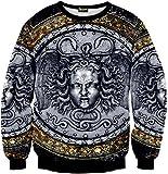 Pizoff Unisex Hip Hop Sweatshirts mit 3D Digital Print 3D Muster Helios Medusa Skulptur der Italienischen Renaissance Y1759-50-XXL