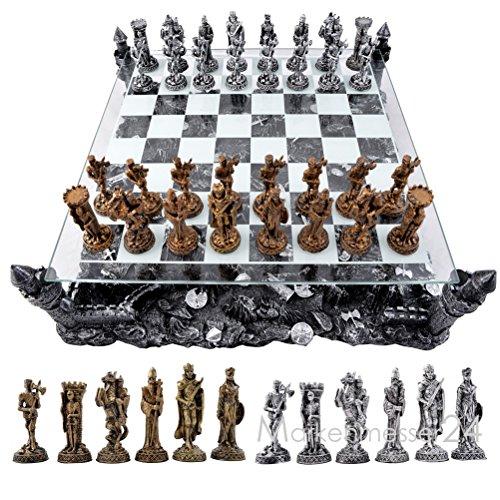 Denix 3D Schachspiel Mittelalter Schach mit Ritter Figuren und Schlachtfeld