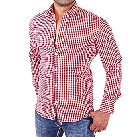 Sonnena Herren Plaid Shirts Stecker Long Sleeve Slim Fit Business Casual Shirt