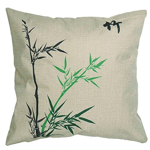 luxbon-blend cotone lino throw pillow cover cuscino antico stile cinese Bamboo Stampato federa cuscino decorativo in casa, auto, divano, letto, 18x 18inches-pattern 3