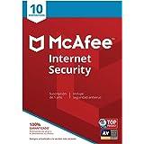 McAfee Internet Security - Antivirus | 10 Dispositivos | Suscripción de 1 año | PC/Mac/Android/Smartphones | Código de activa