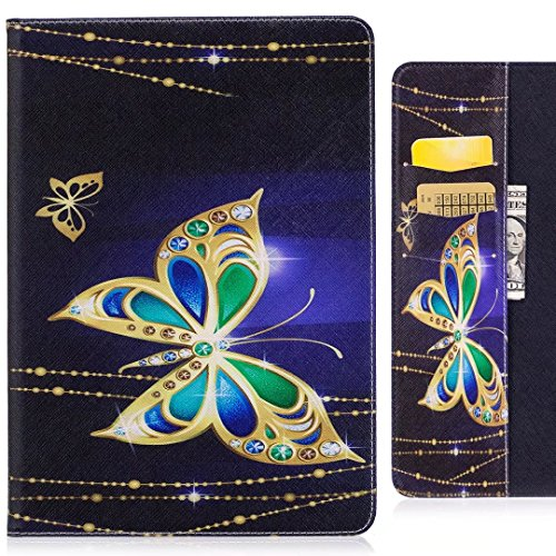 Handyhülle Samsung Galaxy Tab S2 9.7 / T813 T819 T810 T815 Hülle Tasche, Ougger Schmetterling Print Beutel Briefhülle Tasche Bumper Schale Schutzhülle PU Leder Weich Magnetisch Stehen Silikon Haut Flip Cover Case mit Kartenslot (Leder Schmetterling-print)