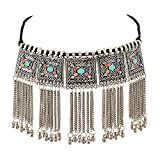 #5: Shayna Oxidised Silver-Plated Floral Stone-Studded Afghani Necklace for Women