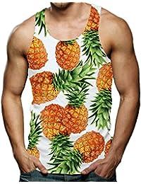 RAISEVERN Divertido Camisetas Sin Mangas 3D Impreso Tops Camiseta Tirantes para Hombres S-XXL