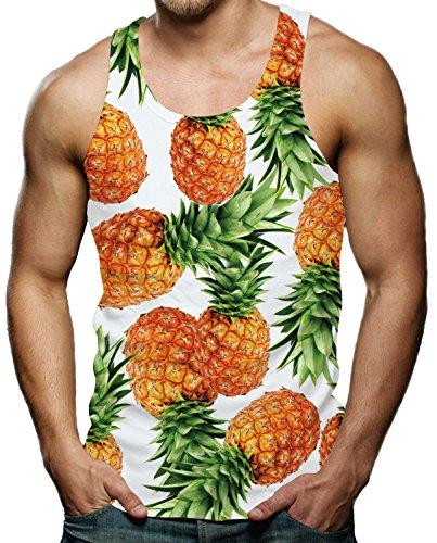 RAISEVERN RAISEVERN Herren Tanktop Ananas Tank Top Tankshirt mit Print Ärmellose T-Shirts Weste Muskelshirt S