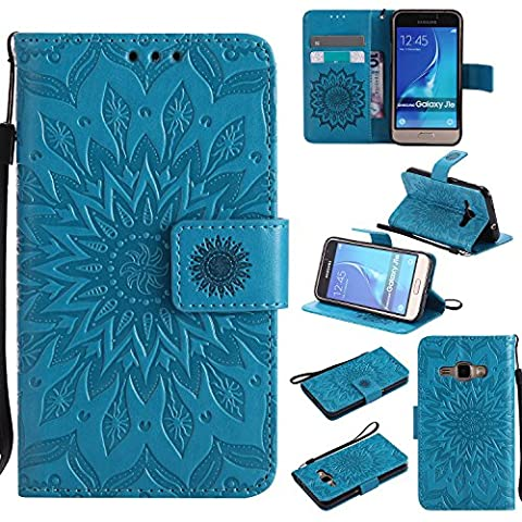 For Samsung Galaxy J1 2016 Case [Blue],Cozy Hut [Wallet Case] Magnetic Flip Book Style Cover Case ,High Quality Classic New design Sunflower Pattern Design Premium PU Leather Folding Wallet Case With [Lanyard Strap] and [Credit Card Slots] Stand Function Folio Protective Holder Perfect Fit For Samsung Galaxy J1 2016 / J120F 4,5 inch -