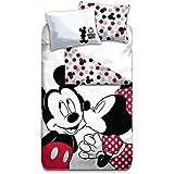 AYMAX S.P.R.L. Mickey & Minnie Parure de lit Vintage - Housse de Couette 140x200 cm + Taie d'oreiller 63x63 cm