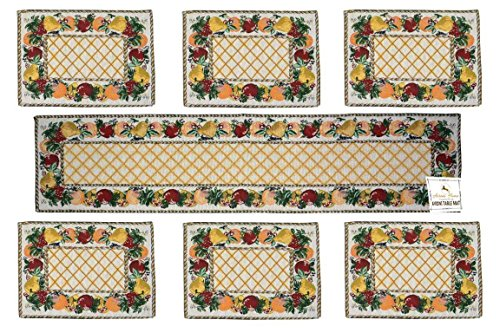 Loomkart Table Mats (Set Of Six) With Table Runner On Jacquard Fabric...