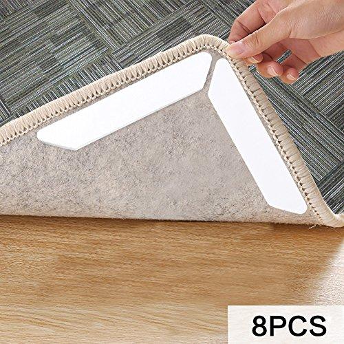 MojiDecor 8pcs rug gripper for wooden floors anti slip rug grips carpet anti slip rug (white 8 pieces)