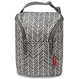 Skip Hop Grab und Go Fläschchentasche, Tasche für zwei Fläschchen oder Trinklernbecher, in Grey Feather, grau