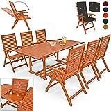 Deuba® 6+1 Sitzgarnitur Unikko | Eukalyptusholz inkl. 6 Auflagen anthrazit | Sitzgruppe Essgruppe Tischgruppe Garten Möbel Set