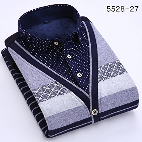 Winter men\'s shirt collar knit sweater twin set sweater Korean jackets warm and plush padded slim teen