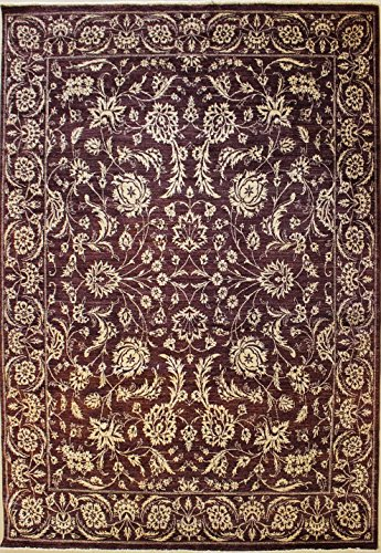 RugsTC 241 x 330 Chobi Ziegler Area Rug Made Using Vegetable Dyes with Wool Pile Hand-Knotted in Dark Brown,White Colors | a 244 x 305 Rectangular Double Knot Rug -